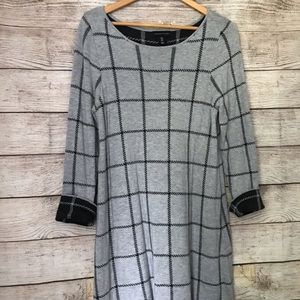 Adrienne Vittadini Gray Black Plaid Sweater Dress